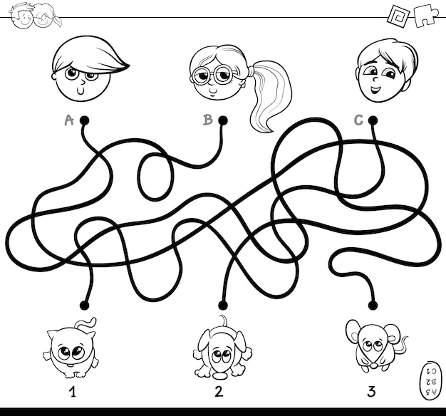 Paths maze with kids and pets coloring book