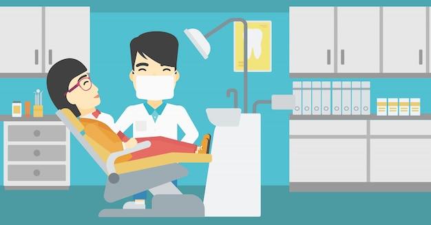 치과 의사의 사무실에서 환자와 의사.