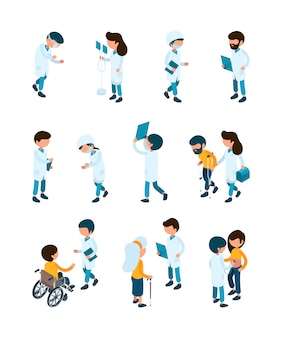 患者と医師。医療スタッフとクリニックレセプションの病院労働者の患者は、医療等尺性人々のサービスを支援します