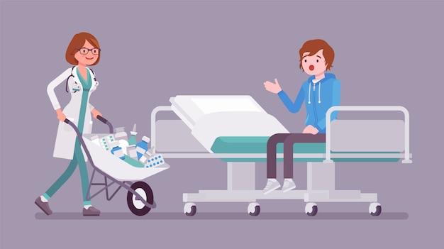 Пациент и врач больницы