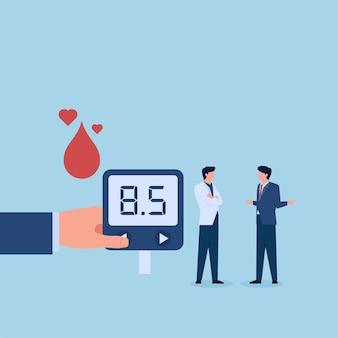患者は糖尿病について尋ねます。世界糖尿病デーの比喩。