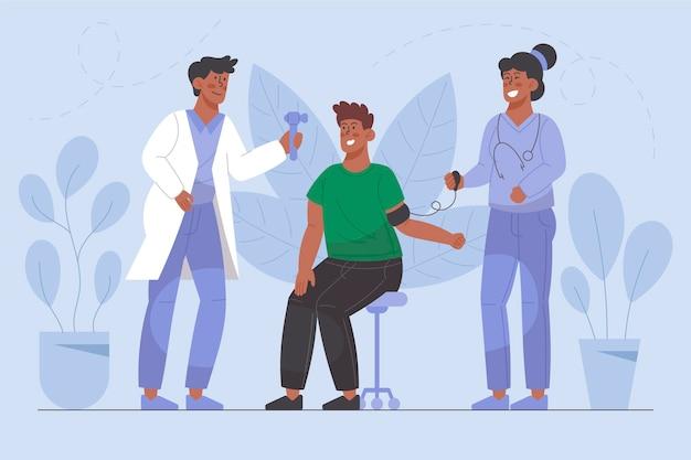 Пациента осматривает врач в клинике иллюстрации