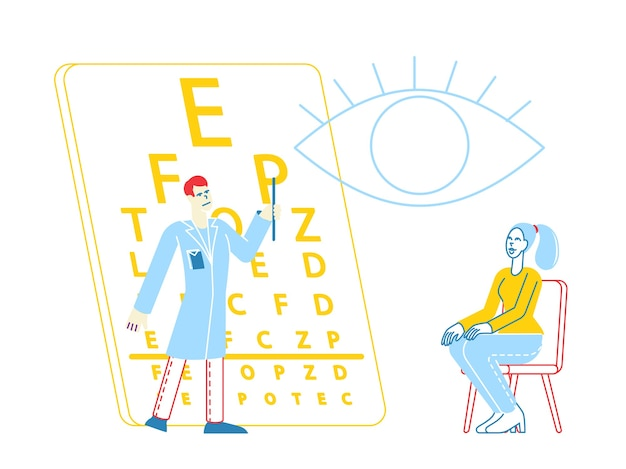 Пациент персонаж в офтальмологе доктор проверка зрения на диоптрийность очков
