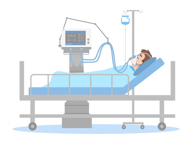 The patient connected to a ventilator