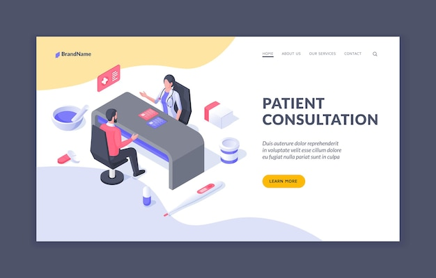 Patient consultation design of web page