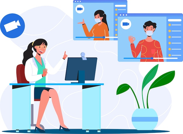 Patient consultation to doctor by video call online doctor health consultation illustration concept flat illustration