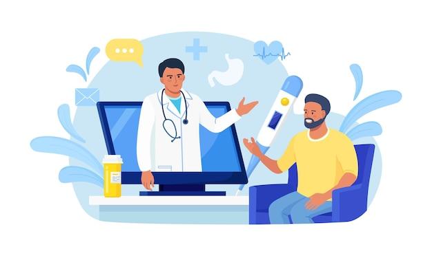 Консультация пациента к врачу с помощью компьютера. семейный врач со стетоскопом на экране ноутбука. медицинская поддержка онлайн. интернет-врач. медицинские услуги. спросите у врача