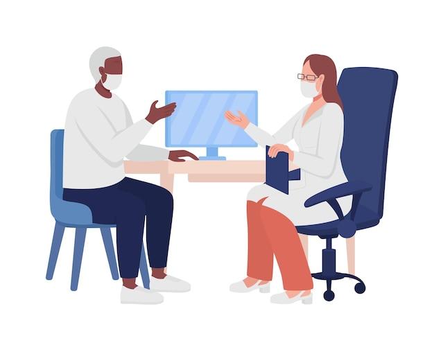 의사 세미 플랫 컬러 벡터 문자와 환자 상담. 흰색에 전신 사람들입니다. 의료 약속 그래픽 디자인 및 애니메이션에 대한 격리 된 현대 만화 스타일의 그림