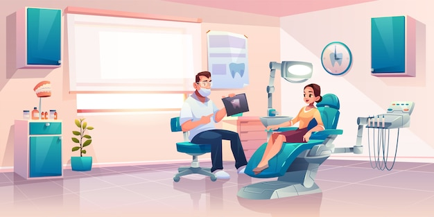 Patient at dentist office illustration
