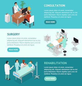 Patient and doctor appointment banner isometric view. consultation surgery and rehabilitation specialist in cabinet interior of clinic vector illustration