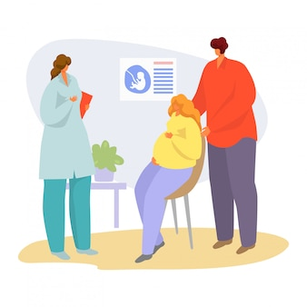 Patient on doctor appointment  illustration, cartoon  pregnant woman talking with physician in hospital  on white