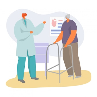 Patient on doctor appointment  illustration, cartoon  senior character visiting cardiologist, elderly healthcare  on white