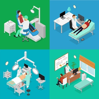 Patient and doctor appointment isometric view. diagnosis consultation surgery and rehabilitation specialist in cabinet interior of clinic vector illustration