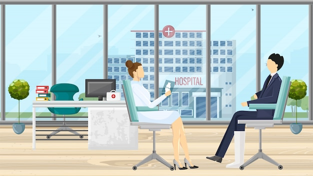 Patient at doctor consultation illustration