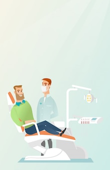 Patient and doctor in the dentist office.