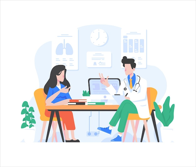 Patient and doctor doing medical consultation flat style design illustration
