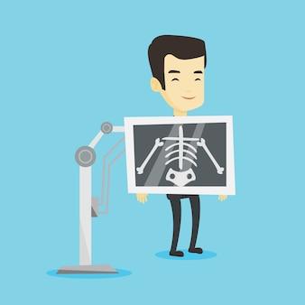 Пациент во время рентгеновской процедуры иллюстрации