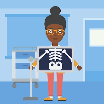 Patient during x ray procedure.