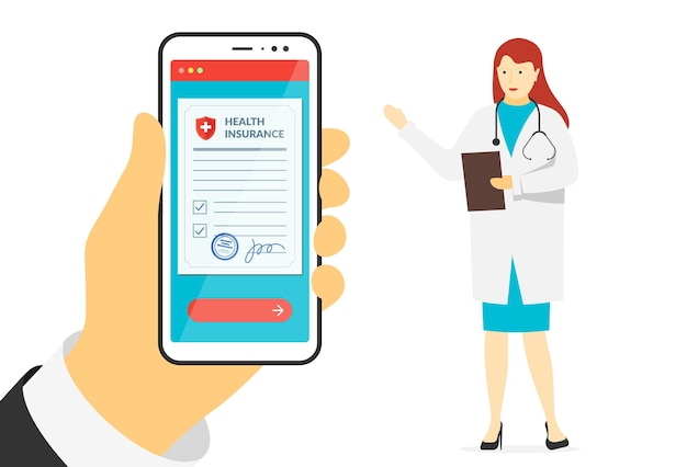 Patient hand holding smartphone with health insurance policy form and female doctor online signs