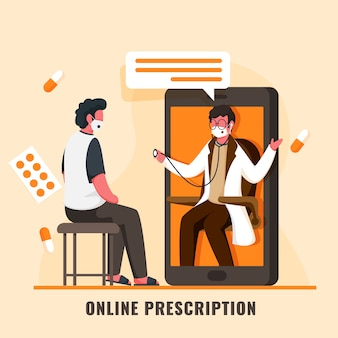 Patient having online checkup from doctor man in smartphone with medicines on light orange background.