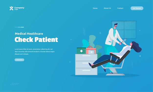 Patient health check illustration on landing page concept