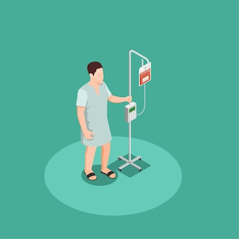 Patient in hospital clothing with dropper isometric composition