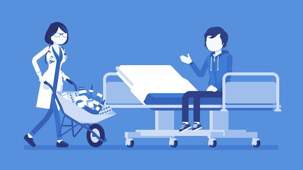 Patient and hospital doctor with cart full of medicines. man in clinic given a heap of drugs to take, too much pills prescribed. medicine and healthcare.  illustration with faceless characters
