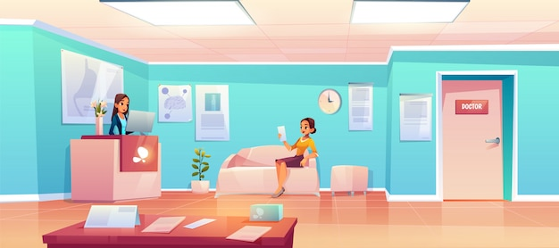 病院の待合室の患者