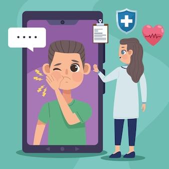 Пациент в смартфоне и врач