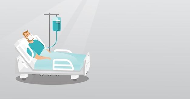 患者は酸素マスクで病院のベッドで横になっています。