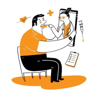 スマートフォンでオンラインで専門の医師に会う患者、オンライン医療相談の概念