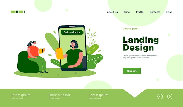 Patient at online therapy session landing page in flat style