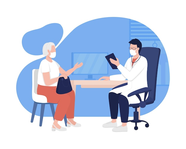 Patient and physician meeting 2d vector isolated illustration. medical care appointment for older patient flat characters on cartoon background. visiting hospital with health issues colourful scene