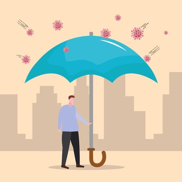 Пациент защищает с зонтиком из иллюстрации вирусных частиц covid19