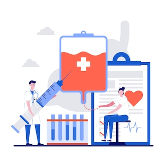 患者サポート、チャリティー、ボランティア、小さなキャラクター、医師、ハートのシンボル、輸血用バッグを備えた医療寄付のコンセプト。献血者。