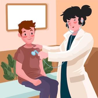 Paziente che fa una visita medica illustrata
