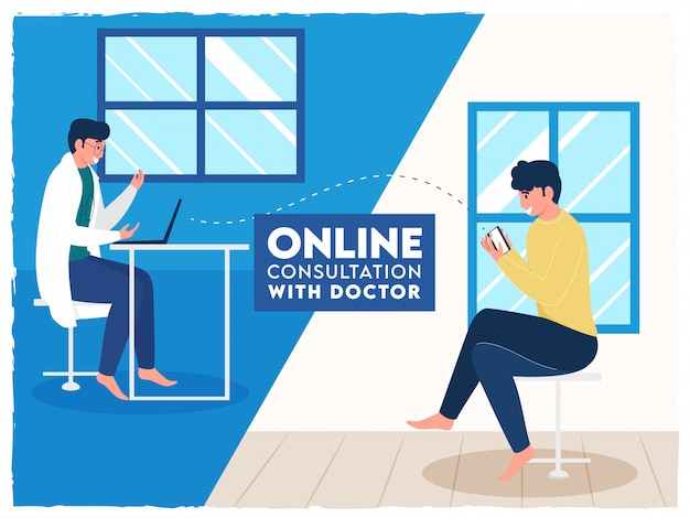 オンライン相談のためのインテリアルームで医師とビデオ通話から話している患者。