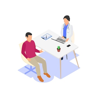 The patient talks about the symptoms of the disease at the doctor's appointment