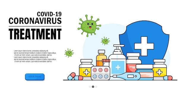 コロナウイルスの患者テスト。咳、息切れ、入院治療。コロナウイルス治療、ncov-19の早期診断、ヒトコロナウイルスの投薬。ウェブサイトホームページランディングページテンプレート