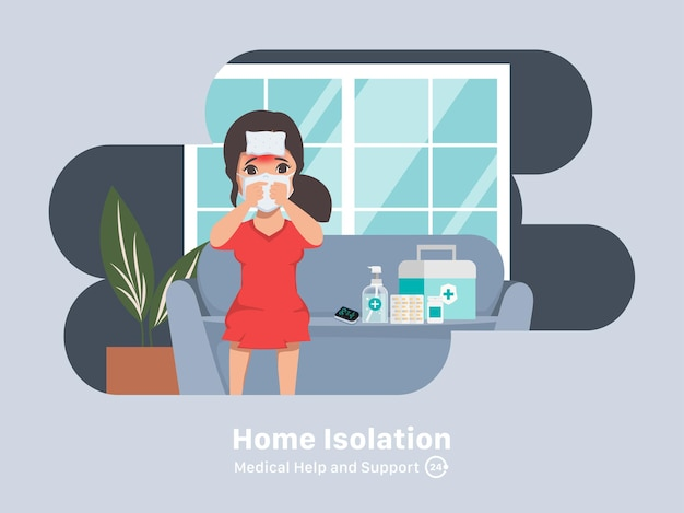 Patient treat covid19 at home isolation and self care treatment