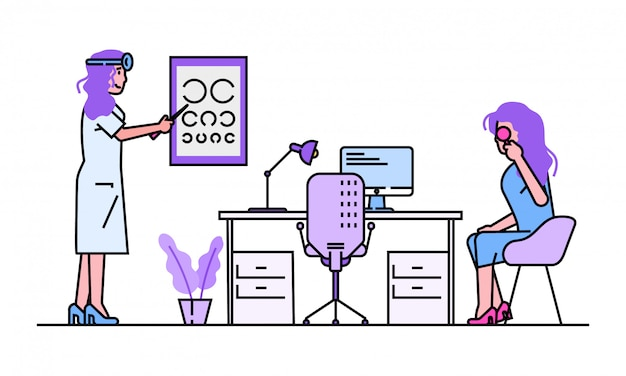 Patient visit doctor  illustration. cartoon line  oculist ophthalmologist character examining, checkup eyesight  on white