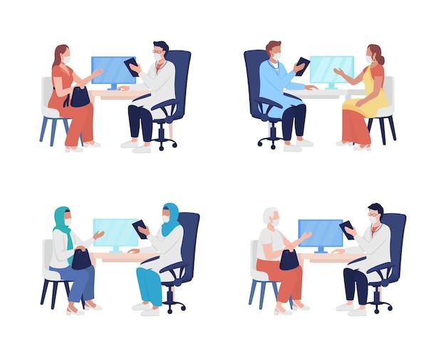 의료 전문가 세미 플랫 컬러 벡터 문자 세트에 대한 환자 방문. 흰색에 전신 사람들입니다. 그래픽 디자인 및 애니메이션을 위한 격리된 현대 만화 스타일의 삽화에 대해 의사에게 도움을 요청하십시오.