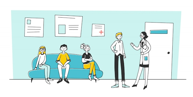 Patient visiting medical practitioner office in hospital
