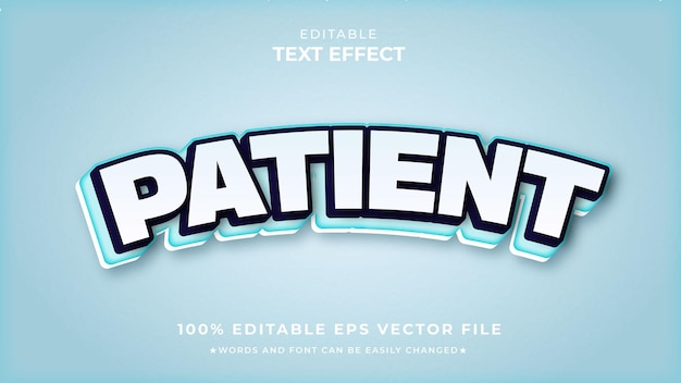 Patient white editable text effect vector premium
