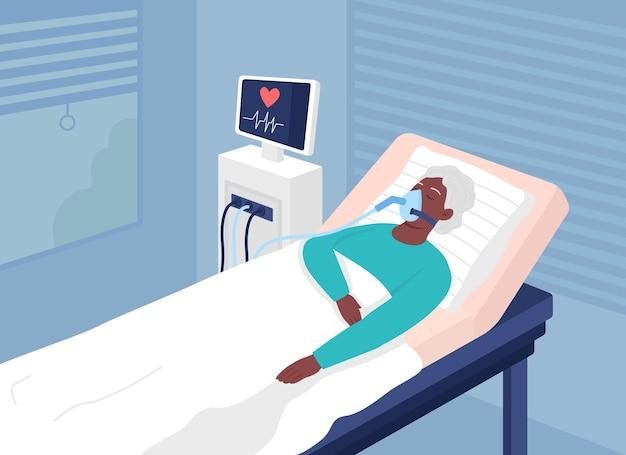 생명을 위협하는 상태의 평면 컬러 벡터 삽화가 있는 환자. 수술 후 회복실. 배경에 심장 모니터링이 있는 중요한 상태의 2d 만화 캐릭터에 있는 아픈 사람