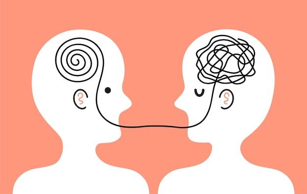 Пациент с клубком беспорядочных мыслей в голове разговаривает с врачом-психотерапевтом Premium векторы