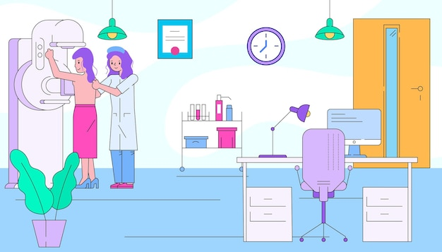 患者の女性キャラクターがx線キャビネットを訪問専門医放射線科医ヘルスケア病気フラットリン...