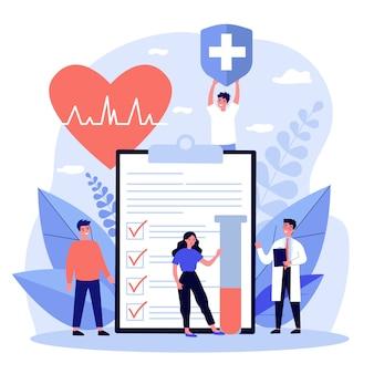 健康保険を宣伝する患者と医師