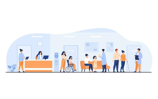 환자와 의사가 클리닉 홀에서 만나고 기다리고 있습니다. 리셉션, 휠체어에 사람과 병원 인테리어 그림. 진료실 방문, 건강 진단, 상담