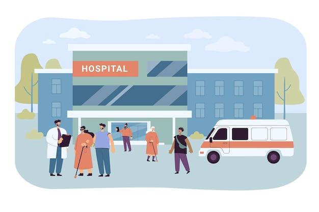 병원 건물 근처를 걷는 환자와 방문자. 평면 그림